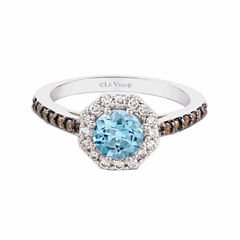LIMITED QUANTITIES! Levian Corp Le Vian Womens 1/4 CT. T.W. Blue Aquamarine 14K Gold Cocktail Ring
