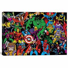 Icanvas Marvel Comics Character Line-Up In Zoom Canvas Art