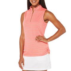 PGA TOUR Sleeveless Stripe Polo Shirt