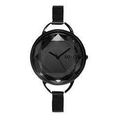 SO & CO Ny Women's Soho Stainless Steel Bracelet Black Tone Dial With Faceted Glass Dress Quartz Watch J157P92