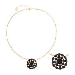 Monet® Black Stone Gold-Tone Pendant Necklace