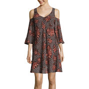 Heart & Soul® 3/4-Sleeve Cold-Shoulder Printed Chiffon A-Line Dress- Juniors