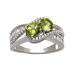 Genuine Peridot And Lab Created White Sapphire 2 Stone Ring In Sterling Silver