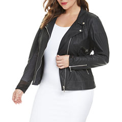 Fashion To Figure Alicia Mesh Leather Motorcycle Jacket-Plus