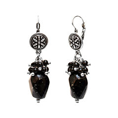 Aris by Treska Silver-Tone Black Beaded Drop Earrings