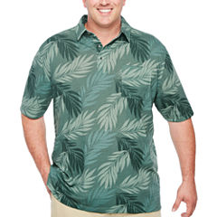 Van Heusen Short Sleeve Leaf Print Polo Short Sleeve Leaf Knit Polo Shirt Big and Tall