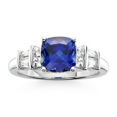 Lab-Created Blue & White Sapphire Sterling Silver 3-Stone Ring