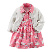 Carter's® 2-pc. Short-Sleeve Dress & Cardigan Set - Baby Girls newborn-24m