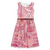 Speechless® Sleeveless Multi Coral Aztec Lace Belted Skater Dress - Girls 7-16