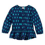 Arizona Long-Sleeve Woven Peplum Top - Baby Girls 3m-24m