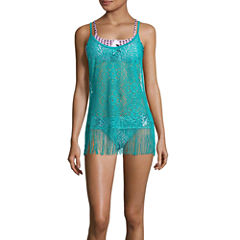Social Angel Solid Crochet Swimsuit Cover-Up Dress-Juniors