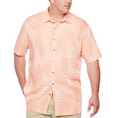 Van Heusen Short Sleeve Textured Hanging Camp Short Sleeve Camp Shirt-Big and Tall