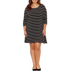 Arizona 3/4 Sleeve Stripe Swing Dresses-Juniors Plus