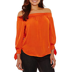 Bisou Bisou Tie Cuff Off The Shoulder Top