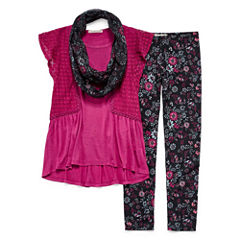 SE Crochet Flutter Sleeve Legging Set w/ Scarf - Girls' 7-16