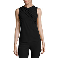 Worthington Sleeveless Scoop Neck T-Shirt-Womens