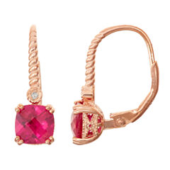 Lab-Created Ruby & Diamond Accent 14K Rose Gold Over Silver Leverback Earrings