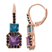Genuine Amethyst & London Blue Topaz 14K Rose Gold Over Silver Leverback Earrings