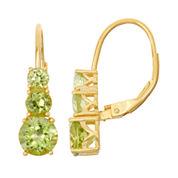 Genuine Peridot 14K Gold Over Silver Leverback Earrings