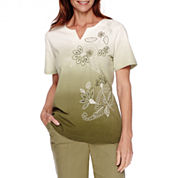 Alfred Dunner® Cyprus Short-Sleeve Embroidered Print Top