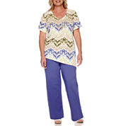 Alfred Dunner® Cyprus Short-Sleeve Asymmetrical Tee or Pull-On Cropped Pants - Plus