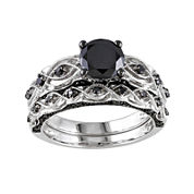 Midnight Black Diamond 1 3/8 CT. T.W. Color-Enhanced Black Diamond 10K White Gold Bridal Set