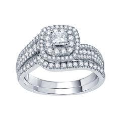 Modern Bride® Signature 1 CT. T.W. Certified White & Color-Enhanced Blue Diamond Set