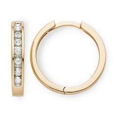 1/6 CT. T.W. Diamond 10K Rose Gold Hoop Earrings