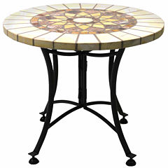 Outdoor Interiors 24 in. Marble Mosaic End Table with Metal Base