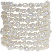 Cultured Freshwater Pearl Set of 10 Stretch Bracelets