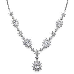 DiamonArt® Cubic Zirconia Sterling Silver Cluster Drop Necklace