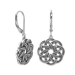 Sterling Silver Celtic Wreath Drop Earrings