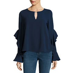 Heart N Soul Long Sleeve Crepe Blouse-Juniors
