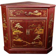 Oriental Furniture Japanese Landscape Corner Accent Cabinet