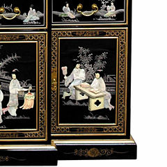 Oriental Furniture Black Lacquer Breakfront Accent Cabinet