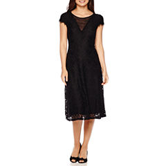Melrose Short-Sleeve Lace Illusion-Neck Fit-and-Flare Dress