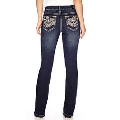 Love Indigo Wing Embellished Back Flap Pocket Jean