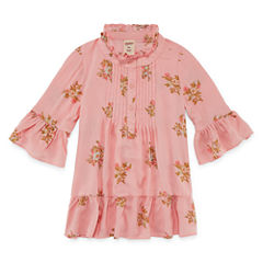 Arizona Pintucked Round Neck Long Sleeve Bell Sleeve Blouse - Preschool Girls