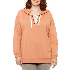 Flirtitude Lace Up French Terry Hoodie- Juniors Plus