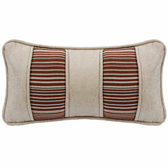 Hiend Accents 11x22 Faux Leather Pieced Stripe Fabric Bed Rest Pillow