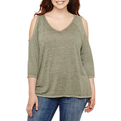 a.n.a 3/4 Sleeve Cold Shoulder T-Shirt-Womens Plus