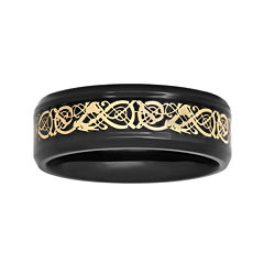 Mens Two-Tone Celtic Dragon 8mm Wedding Band