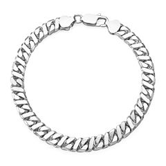 Made in Italy Sterling Silver Mens Curb and Bar Link Chain Bracelet