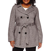 Liz Claiborne® Belted Fleece Trench Pea Coat - Plus