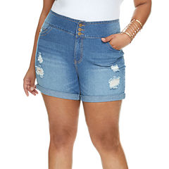 Fashion To Figure Roll Cuff Denim Shorts-Plus