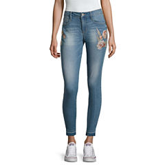 Arizona Embroidered Roses Ankle Jeggings-Juniors