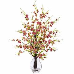 Cherry Blossom In Glass Vase Floral Arrangement