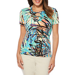 Rafaella Short Sleeve Split Crew Neck Graphic T-Shirt