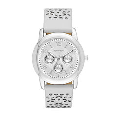 Arizona Womens Silver Tone White And Gray Strap Watch