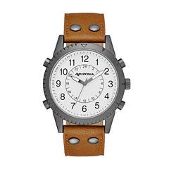 Arizona Mens White Dial Cognac Strap Watch